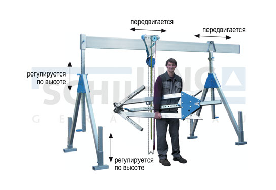 Кран козловой алюминиевый, стационарный, грузоподъемностью 1 000 кг и 1 500 кг